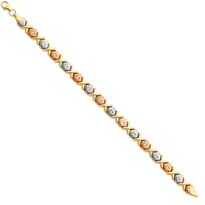 14K Gold Light Stampato Hugs and Kisses Bracelet - 7.25'
