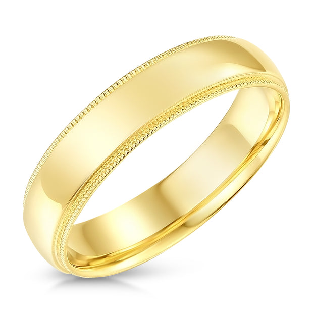 14k Solid Gold 5mm Comfort Fit Milgrain Traditional Wedding Band Ring