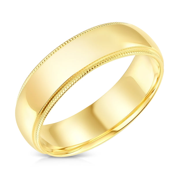 14k Solid Gold 6mm Comfort Fit Milgrain Traditional Wedding Band Ring