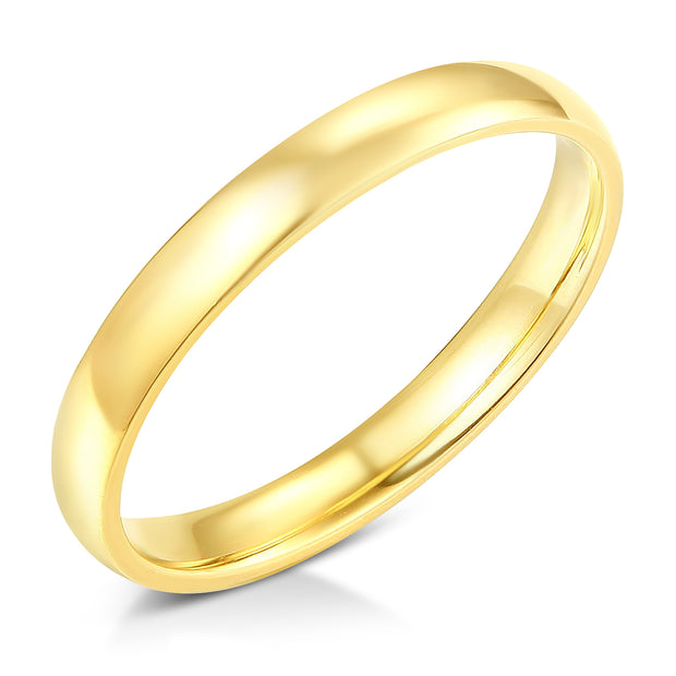 14k Solid Gold 3mm Plain Standard Classic Fit Traditional Wedding Band Ring