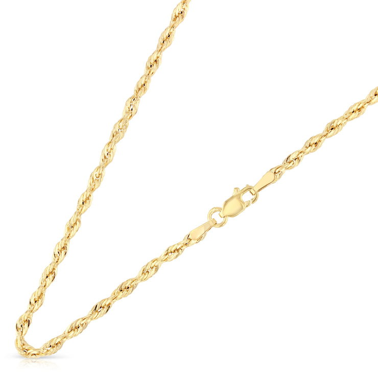 14K Gold 2.5mm Hollow Diamond Cut Rope Chain