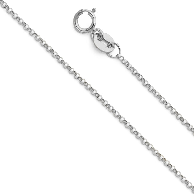14K Gold 1.2mm Classic Rolo Cable Chain