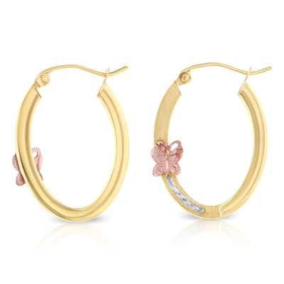 14K Gold 1.5mm Hoops with Butterfly
