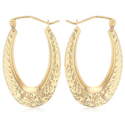 14K Gold Teardrop Diamond Cut Hollow Hoops