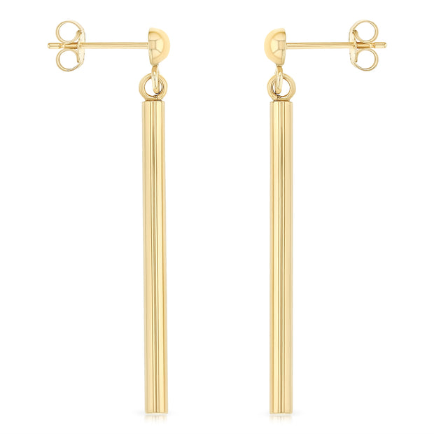 14K Gold Round Bar Hanging Earrings