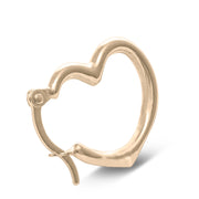 14K Gold Angled Hollow Heart Earrings
