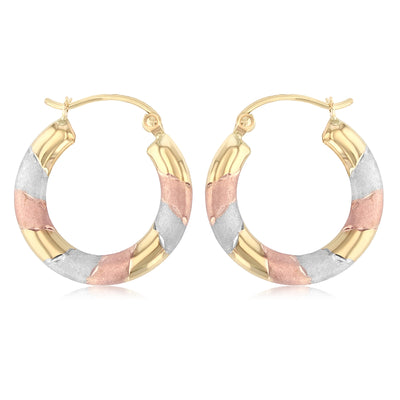 14K Gold Diamond Cut Hoops