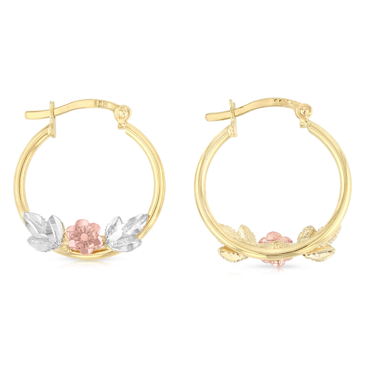 14K Gold Flower Hoops