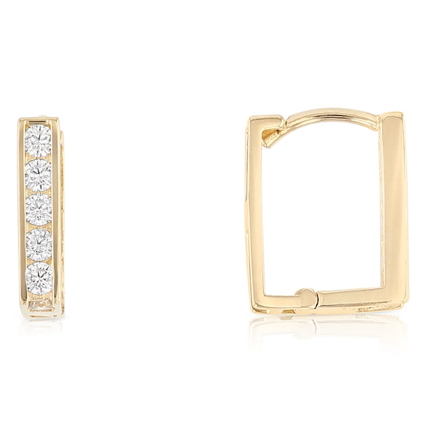 14K Gold CZ Stone Square Huggie Hoops