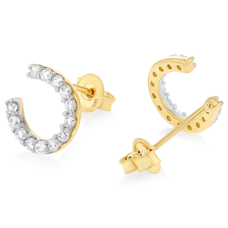 14K Gold CZ Stone Horse Shoes Studs