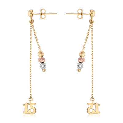 14K Gold 15 Anos Quinceanera Dangle Earrings