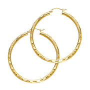 14K Gold 3mm Diamond Cut Hoops