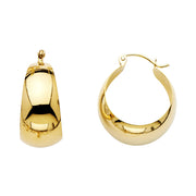 14K Gold Graduated Plain Hoops