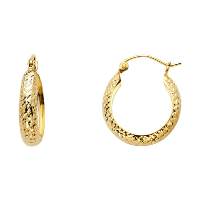 14K Gold Full Diamond Cut Half Dome Hoops