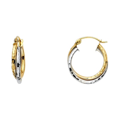 14K Gold 3 Line Braided Hoops