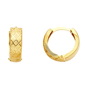 14K Gold Diamond Cut Stamp Huggie Hoops