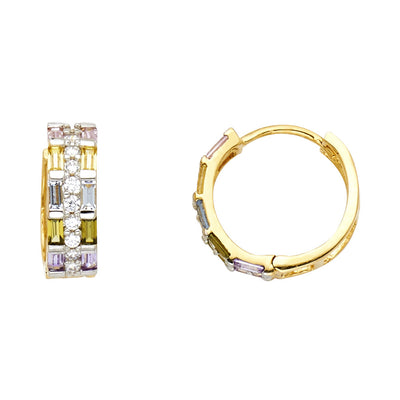 14K Gold Multi Color CZ Stone Huggie Hoops