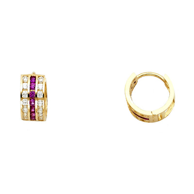 14K Gold Red & CZ Stone Huggie Hoops