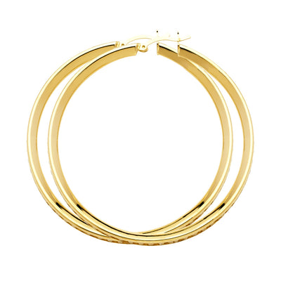 14K Gold RD CZ Stone Channel Hoops
