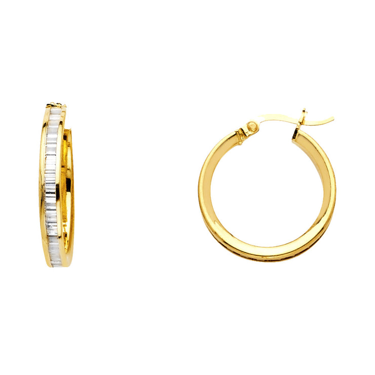 14K Gold BG CZ Stone Channel Hoops