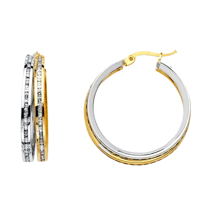 14K Gold RD CZ Stone Channel 2 Line Hoops