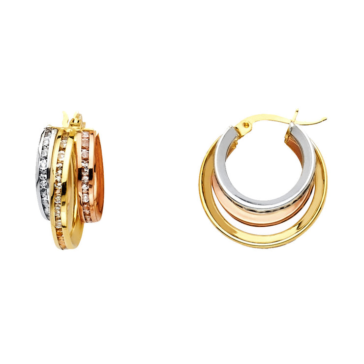 14K Gold RD CZ Stone Channel 3 Line Hoops