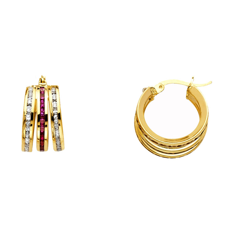 14K Gold Red & RD CZ Stone Channel 3 Line Hoops