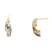 14K Gold RD CZ Stone Channel 3 Line Post Earrings