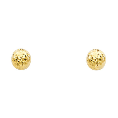14K Gold Full Diamond Cut Ball Studs