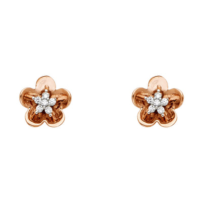 14K Pink Rose Gold Gold CZ Stone Flower Studs