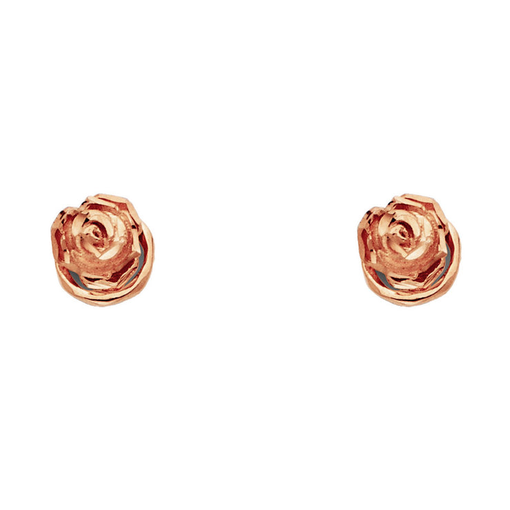 14K Pink Rose Gold Gold Flower Studs