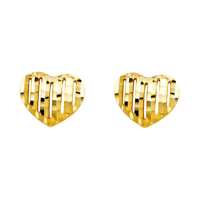 14K Gold Diamond Cut Heart Studs