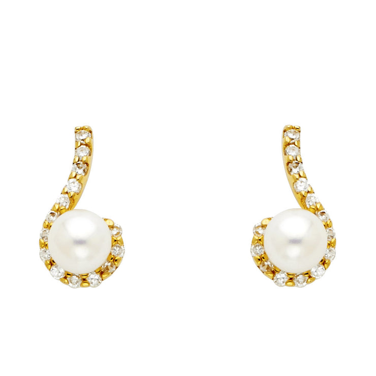 14K Gold Freshwater Cultured Pearl CZ Stone Post Earrings
