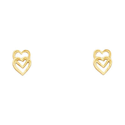 14K Gold Heart Post Earrings