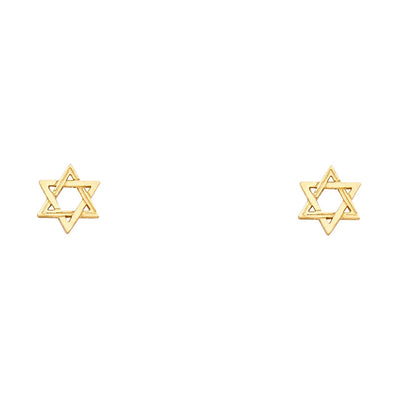14K Gold Jewish Star of David Studs