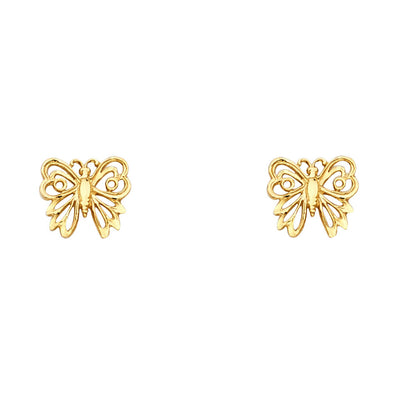 14K Gold Butterfly Post Earrings