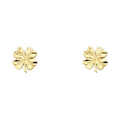 14K Gold Clover Post Earrings