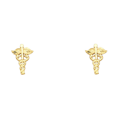 14K Gold Clinic Mark Post Earrings