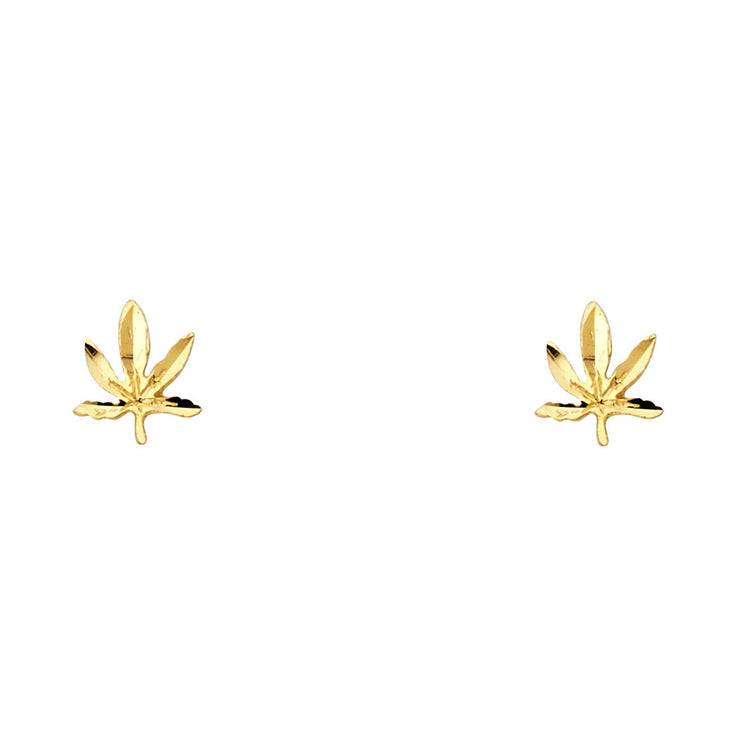 14K Gold Mariuana Post Earrings