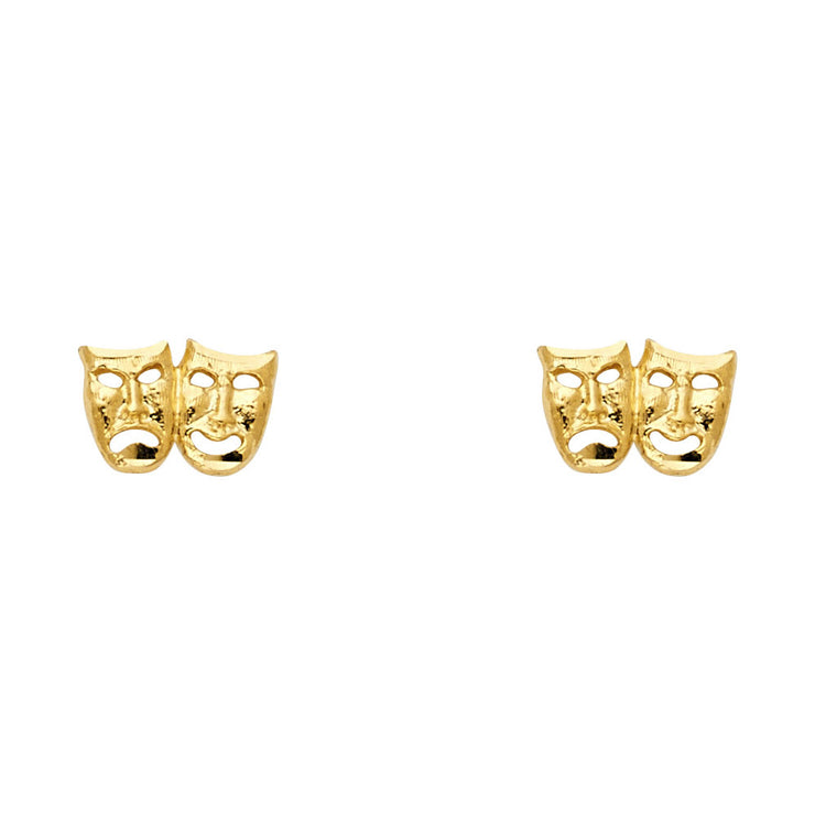 14K Gold Smile/Cry Face Studs