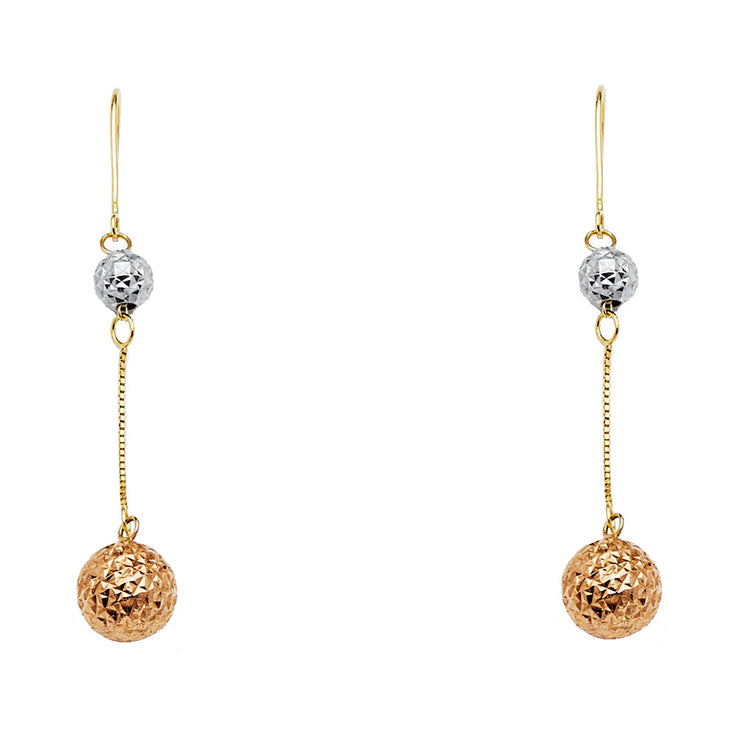 14K Gold RD Ball Hanging Earrings