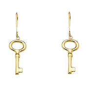 14K Gold Key Earrings