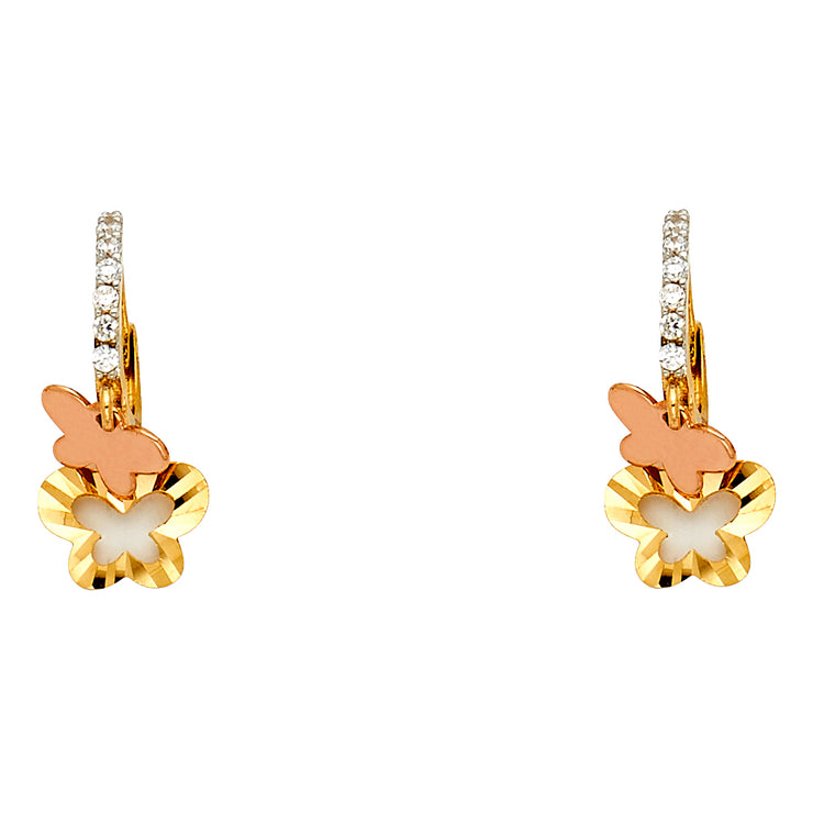 14K Gold CZ Stone Flower and Butterfly Hanging Huggie Hoops