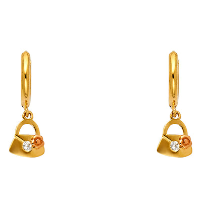 14K Gold CZ Stone Lock and Flower Hanging Huggie Hoops
