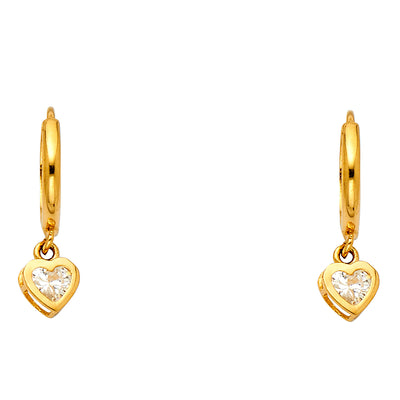 14K Gold CZ Stone Flower Heart Hanging Huggie Hoops