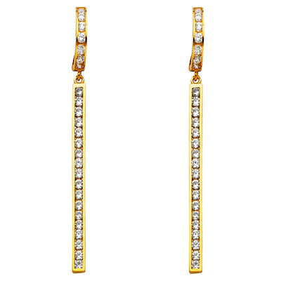 14K Gold CZ Stone Hanging Huggie Hoops