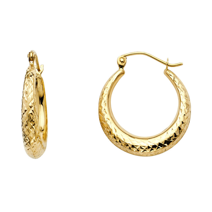 14K Gold 4mm Diamond Cut Hoops