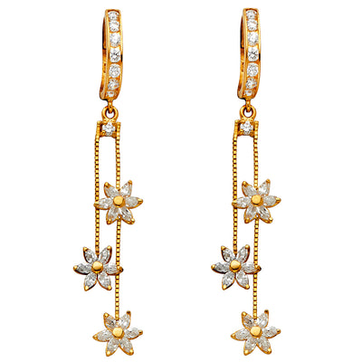 14K Gold CZ Stone Flower Dangle Huggie Hoops