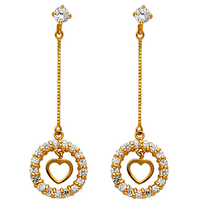 14K Gold CZ Stone Circle and Open Heart Dangle Huggie Hoops