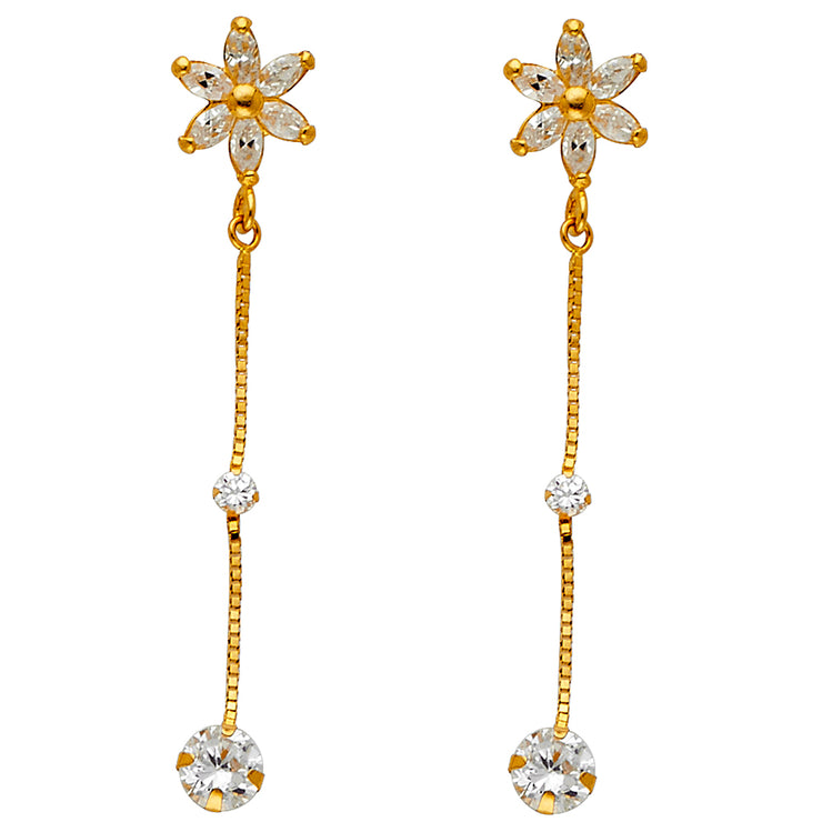 14K Gold CZ Stone Flower Hanging  Drop Huggie Hoops